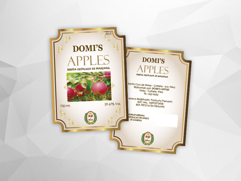 Etiqueta de licor DOMMI'S APPLES