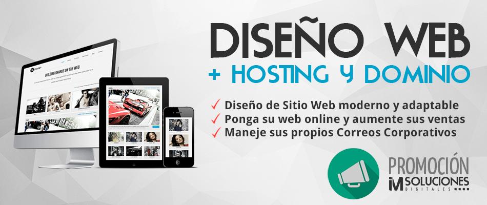 diseño web + hosting y dominio